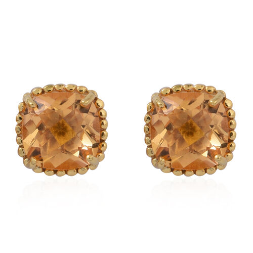 Citrine (Cush) Stud Earrings (with Push Back) in 14K Gold Overlay Sterling Silver 5.000 Ct.