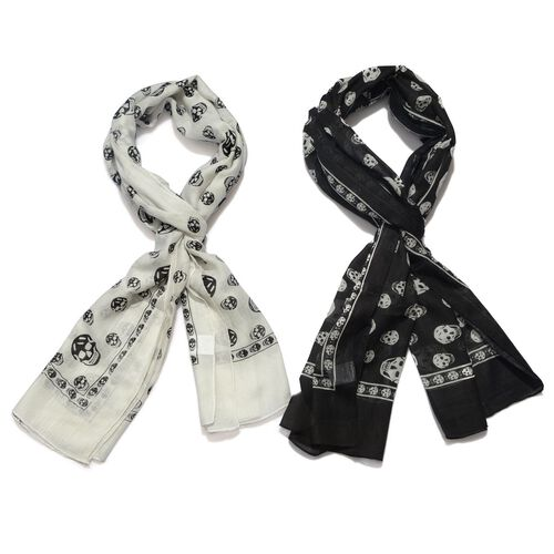 Set of 2 - Designer Inspired Skull Printed Black and White Colour Scarf (Size 175x70 Cm)