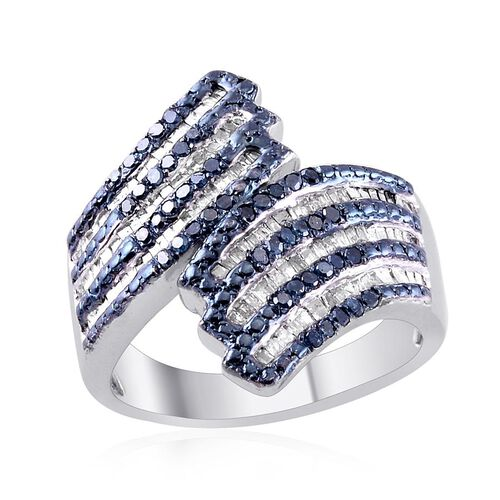 Blue Diamond (Rnd), Diamond Crossover Ring in Platinum Overlay Sterling Silver 1.000 Ct.