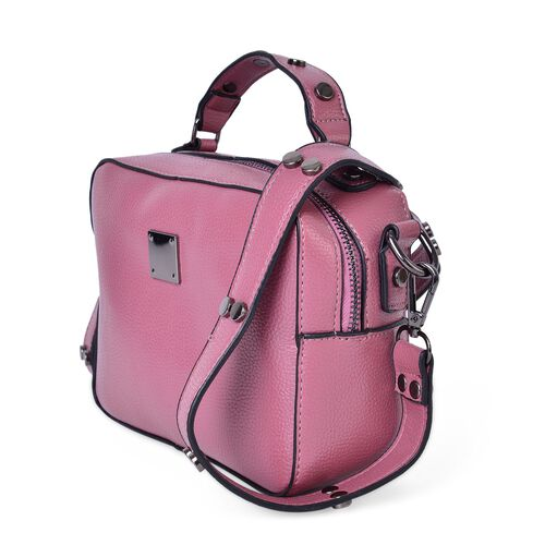 Pink Colour Crossbody Bag with External Zipper Pocket and Removable Shoulder Strap (Size 20X15X7.5 Cm)