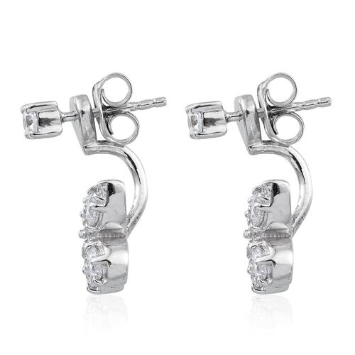 J Francis - Platinum Overlay Sterling Silver (Rnd) Jacket Earrings (with Push Back) Made with SWAROVSKI ZIRCONIA