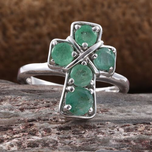 Zambian Emerald 1.50 Ct Silver Cross Ring in Platinum Overlay