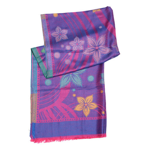 100% Modal Purple, Pink and Multi Colour Floral Pattern Jacquard Scarf (Size 190x70 Cm)