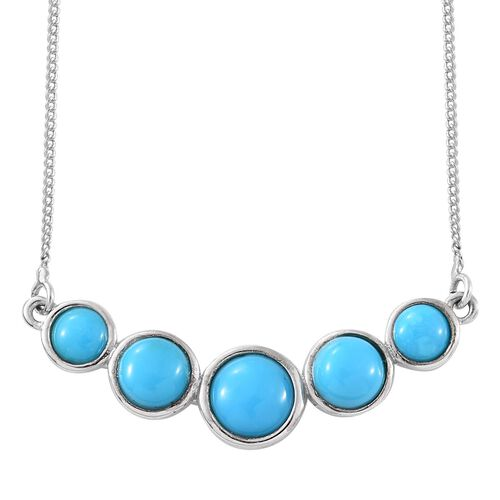Arizona Sleeping Beauty Turquoise (Rnd) Necklace (Size 18) in Platinum Overlay Sterling Silver 2.470 Ct.