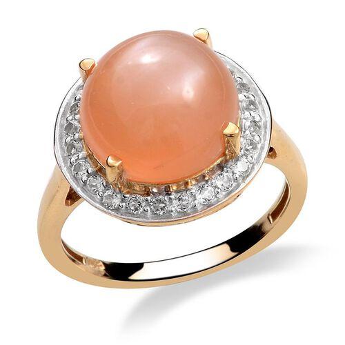 Mitiyagoda Peach Moonstone (Rnd 5.25 Ct), White Topaz Ring in 14K Gold Overlay Sterling Silver 5.750 Ct.