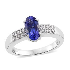 ILIANA 18K W Gold AAA Tanzanite (Ovl 1.82 Ct), Diamond (SI/G-H) Ring 1.950 Ct.