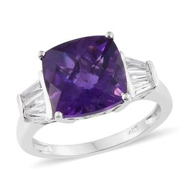 CHECKERBOARD CUT Lusaka Amethyst (Cush 5.50 Ct), White Topaz Ring in Platinum Overlay Sterling Silver 6.250 Ct.