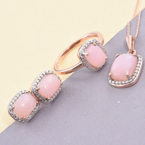 Natural Peruvian Pink Opal (Cush) Solitaire Ring, Pendant With Chain and Stud Earrings (with Push Back) in Rose Gold Overlay Sterling Silver 6.250 Ct.