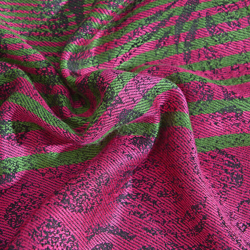 Designer Inspired-Fuchsia, Black and Multi Colour Floral Pattern Scarf with Fringes (Size 190x70 Cm)