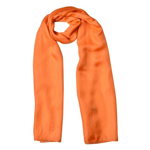100% Mulberry Silk - Pantone Fall 2017 - Autumn Maple Colour Scarf (Size 175X90 Cm)