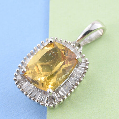 Rare Size AAA Golden Honey Apatite (Cush 3.20 Ct), Diamond (G-H Colour) Pendant in Platinum Overlay Sterling Silver 3.500 Ct.