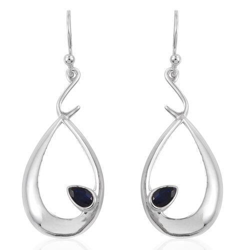 Kanchanaburi Blue Sapphire (Pear) Hook Earrings in Rhodium Plated Sterling Silver. Silver wt 3.75 Gms.