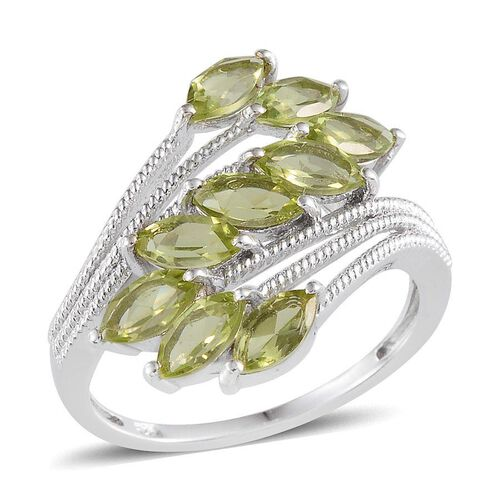 AA Hebei Peridot (Mrq) Ring in Platinum Overlay Sterling Silver 2.400 Ct.