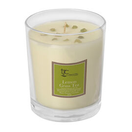 Lemon Grass Scented Glass Candle with Rare Grossular Garnet (20 CTs)