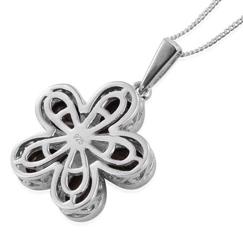 Natural Zawadi Golden Sheen Sapphire (Pear) Floral Pendant With Chain in Platinum Overlay Sterling Silver 4.500 Ct.