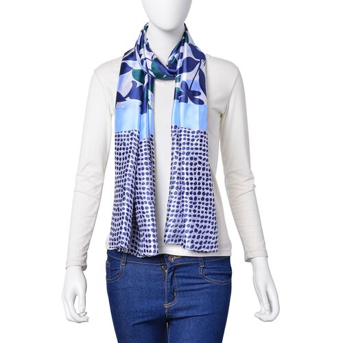 Navy, Light Blue and Green Colour Flowers, Leaves and Dots Pattern Scarf (Size 180X90 Cm)