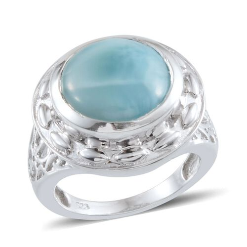 Larimar (Rnd) Solitaire Ring in Platinum Overlay Sterling Silver 6.250 Ct.