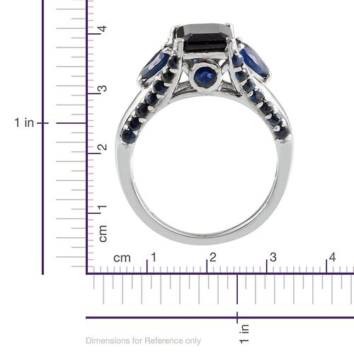 Diffused Blue Sapphire (Oct 2.75 Ct), Kanchanaburi Blue Sapphire Ring in Platinum Overlay Sterling Silver 4.500 Ct.