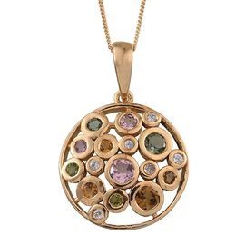 Rainbow Tourmaline (Rnd), Natural Cambodian Zircon Pendant With Chain in 14K Gold Overlay Sterling Silver 1.500 Ct.