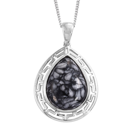 Austrian Pinolith (Pear) Pendant with Chain in Platinum Overlay Sterling Silver 13.000 Ct.