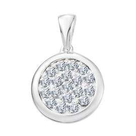 J Francis Crystal from Swarovski - White Crystal (Rnd) Pendant in Sterling Silver