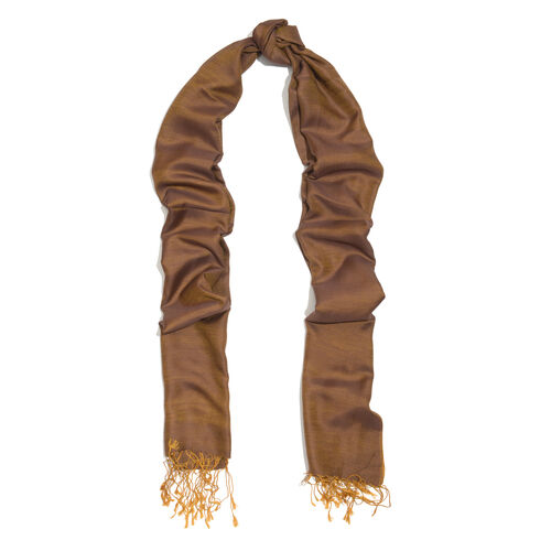 100% Silk Gold and Purple Colour Reversible Scarf with Golden Fringes (Size 200x70 Cm)