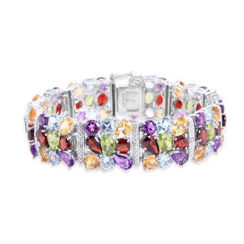 Close Out Deal Sky Blue Topaz, Citrine, Amethyst, Hebei Peridot, Mozambique Garnet and Diamond Rainbow Bracelet in Rhodium Plated Sterling Silver (Size 7.5) 55.620 Ct. Silver Wt 45.00 Gms.