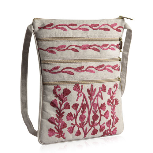 Hand Embroidered Dark Pink Colour Paisley Pattern Light Grey Suede Fabric Sling Bag (Size 27x20 Cm)