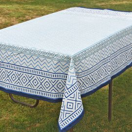 100% Cotton Blue and White Colour Hand Block Printed Table Cover (Size 150x150 Cm)