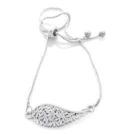 Designer Inspired - Firecracker Diamond (Bgt) Angel Wing Bracelet (Size 6.5 to 8.5) in Platinum Overlay Sterling Silver 0.250 Ct.