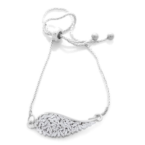 Fire Cracker Diamond (Bgt) Adjustable Bracelet (Size 6.5 to 8) in Platinum Overlay Sterling Silver 0.250 Ct.