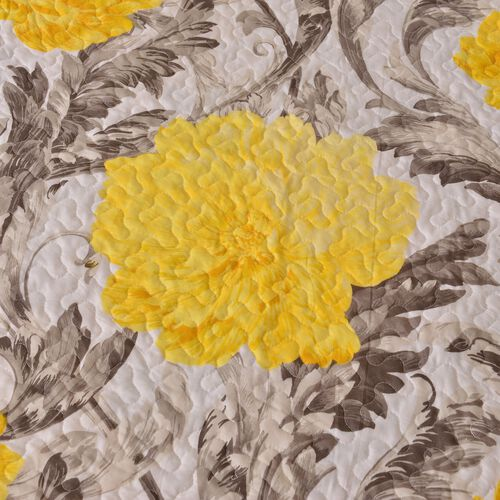 Yellow, Grey and Cream Colour Floral Pattern Microfiber Reversible Quilt (Size 260X240 Cm) and 2 Pillow Shams (Size 70X50 Cm)
