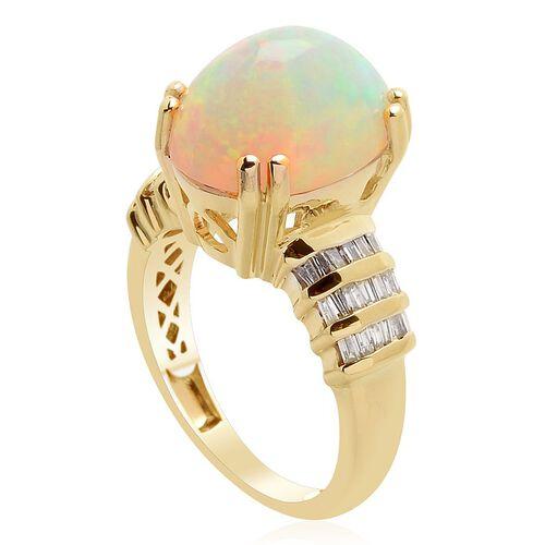 14K Y Gold Ethiopian Welo Opal (Ovl 5.75 Ct), Diamond Ring 5.900 Ct.