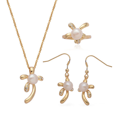 Fresh Water White Pearl and White Austrian Crystal Ring, Hook Earrings and Pendant With Chain in Yellow Gold Plated Stainless Steel