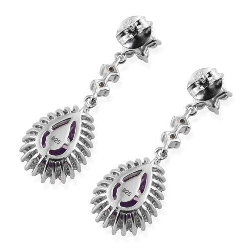 Lusaka Amethyst (Pear), Natural Cambodian Zircon Drop Earrings (with Push Back) in Platinum Overlay Sterling Silver 6.750 Ct.