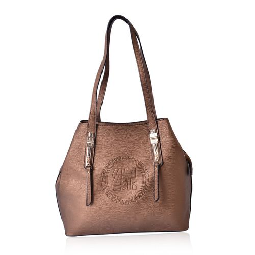 YUAN COLLECTION Bronze Large Tote Bag with External Zipper Pocket (Size 32.5x28.5x14 Cm)