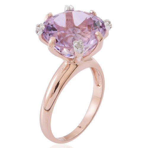Rose De France Amethyst (Rnd), Diamond Ring in 14K Rose Gold Overlay Sterling Silver 11.000 Ct.
