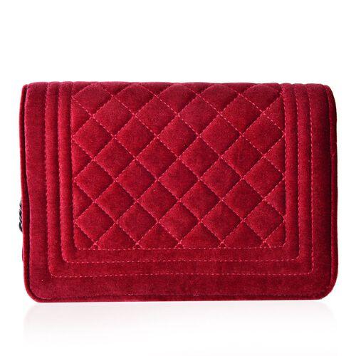 Designer Inspired - Winter Berry Colour Diamond Pattern Velvet Crossbody Bag with Chain Strap (Size 23.5X15X7 Cm)