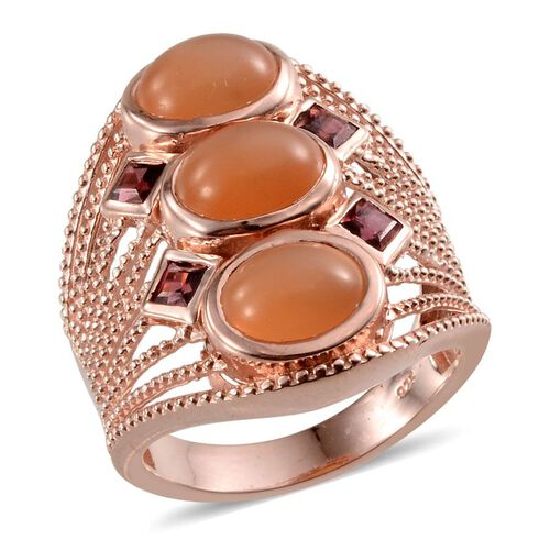 Mitiyagoda Peach Moonstone (Ovl), Rhodolite Garnet Ring in Rose Gold Overlay Sterling Silver 6.750 Ct.