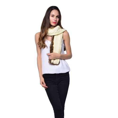 Double Sided Faux Fur Knitted Scarf - Cream and Chocolate Colour (Size 145x15 Cm)