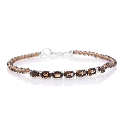 One Time Mega Deal-Brazilian Smoky Quartz (Ovl) Bracelet (Size 7.5) in Sterling Silver 13.880 Ct.