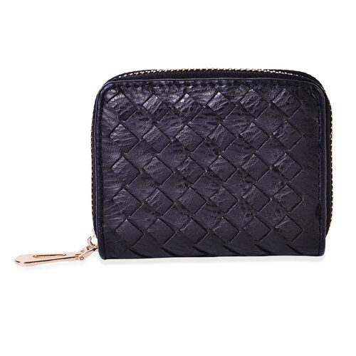 Set of 2 - Black Colour Weaving Pattern Wallet (Size 10x9 Cm) and Coin Bag (Size 10.5x2.5x8 Cm)