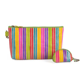 Set of 2 - Genuine Leather Yellow, Pink, and Multi Colour Lining Pattern Handbag (Size 20x13 Cm) with Adjustable Strap and Coin Pouch (Size 7x5 Cm)