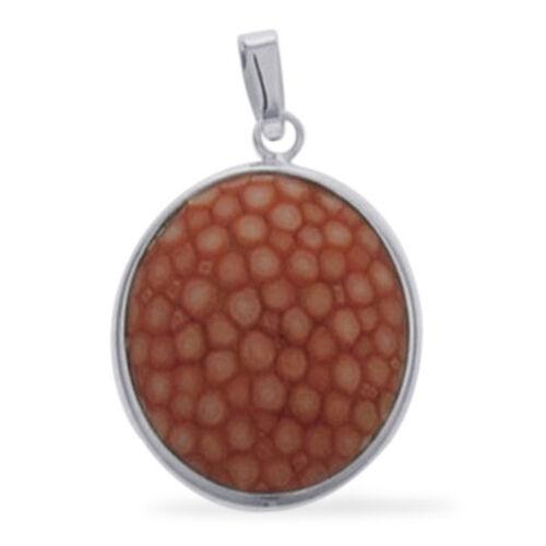 Round Shaped Orange Stingray Leather Pendant