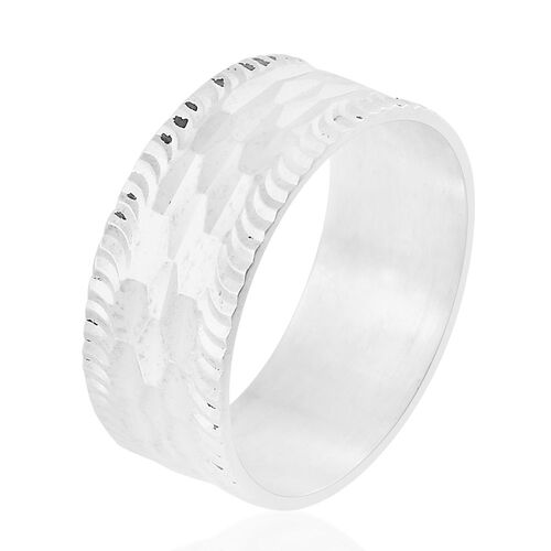 Rhodium Plated Sterling Silver Diamond Cut Band Ring, Silver wt 3.11 Gms.