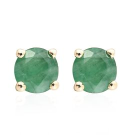 9K Yellow Gold 0.75 Carat AA Kagem Zambian Emerald (Rnd) Stud Earrings (with Push Back)