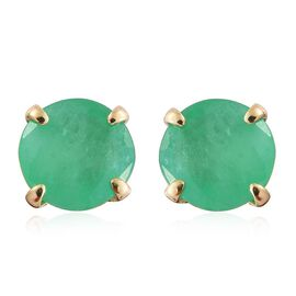 9K Yellow Gold 1 Carat AA Kagem Zambian Emerald Solitaire Stud Earrings (with Push Back)