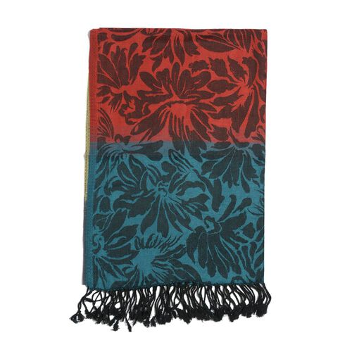 Floral Pattern Blue, Red and Multi Colour Scarf (Size 190x70 Cm)