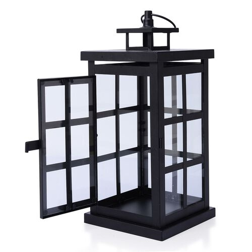 (Option 2) Square Grid Design Black Colour Cage Lantern (Size 32x12 Cm)