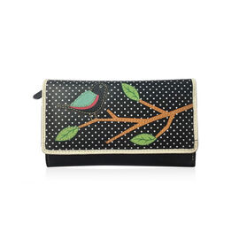 100% Genuine Leather RFID Blocker Black, Green and Multi Colour Polka Dots and Bird on Branch Pattern Wallet with Multiple Card Slots (Size 16X10X3 Cm)